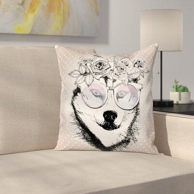 Alaskan Malamute Vintage Floral Square Pillow Cover Size: 24 x 24