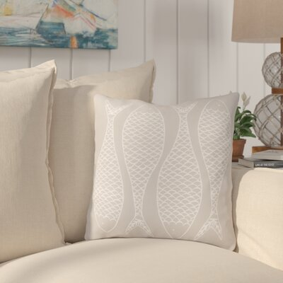 Cannaday Fabulous Fish Outdoor Throw Pillow Size: 26 H x 26 W x 4 D, Color: Light Gray