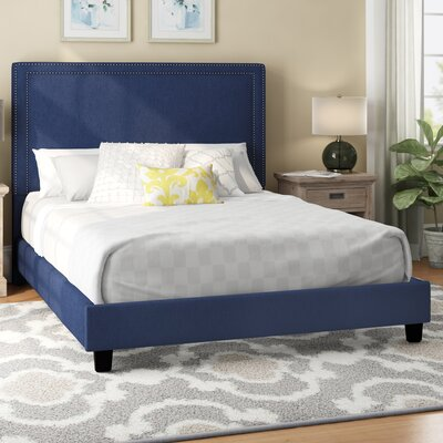 Caledonia Upholstered Platform Bed Color: Blue, Size: Full