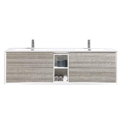 Grist 75 Wall-Mounted Double Bathroom Vanity Set Base Finish: White Ash