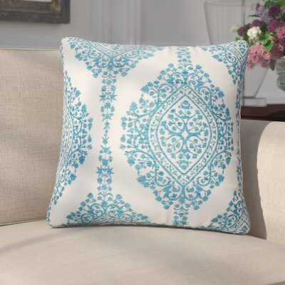 Ignazio Damask Cotton Throw Pillow Color: Peacock
