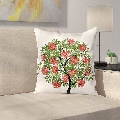 Tree Full of Fruits Art Square Pillow Cover Size: 16 x 16
