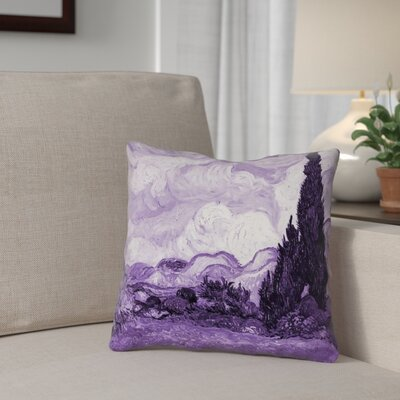 Bristol Woods Wheatfield with Cypresses Throw Pillow Color: Purple, Size: 14 x 14