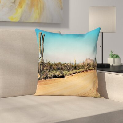 Nature American Desert Cactus Square Pillow Cover Size: 24 x 24