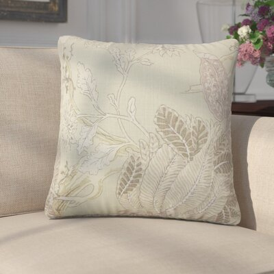 Ghita Floral Linen Throw Pillow Color: Seaglass