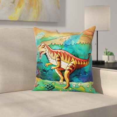 Dinosaur Velociraptor Square Cushion Pillow Cover Size: 16 x 16