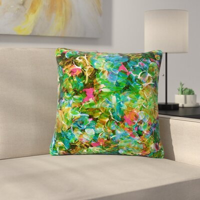 Ebi Emporium Bloom on! Abstract Outdoor Throw Pillow Color: Green, Size: 16 H x 16 W x 5 D