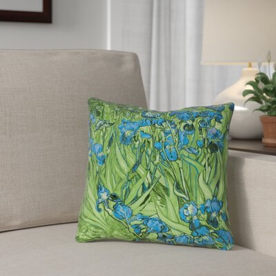 Morley Irises Double Sided Print Square Pillow Cover Size: 14 x 14, Color: Green/Blue