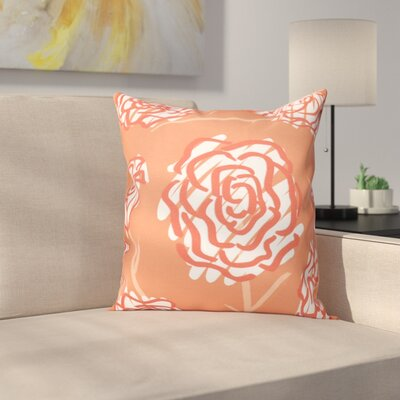 Aletha Spring Floral 2 Print Throw Pillow Size: 16 H x 16 W, Color: Coral