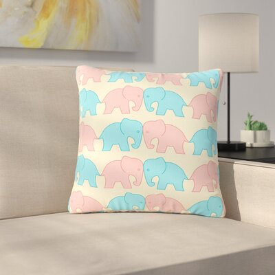 NL Designs Elephants on Parade Animals Outdoor Throw Pillow Color: Pastel, Size: 16 H x 16 W x 5 D
