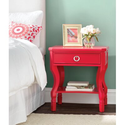 Rowe 1 Drawer Nightstand Color: Red