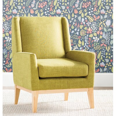 Thierry Wingback Armchair Upholstery: Green