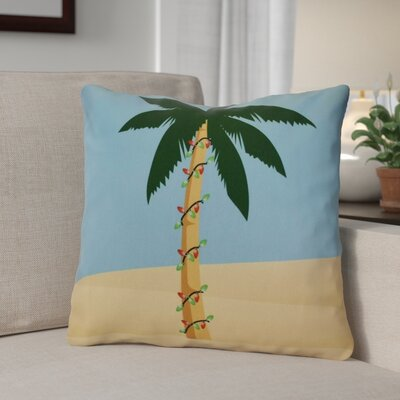 Decorative Christmas Print Outdoor Throw Pillow Size: 16 H x 16 W, Color: Blue