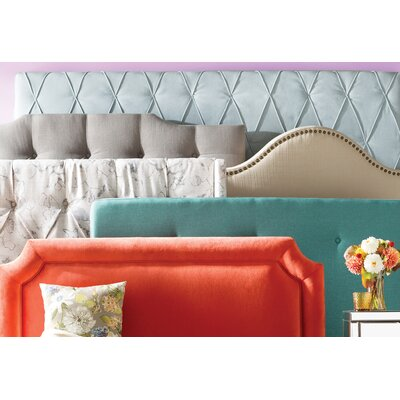 Delray Linen Upholstered Panel Headboard Upholstery: Cyan, Size: Queen