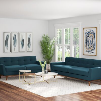 Saginaw 2 Piece Living Room Set Upholstery: Azure