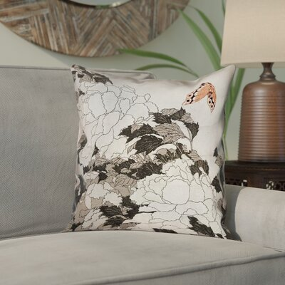 Clair Peonies with Butterfly Square Linen Pillow Cover Color: Orange/Gray, Size: 18 x 18