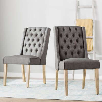 Allain Side Chair Upholstery: Linen / Dark Gray