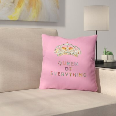 Green Queen of Everything Indoor/Outdoor Throw Pillow Size: 16 H x 16 W x 4 D, Color: Pink