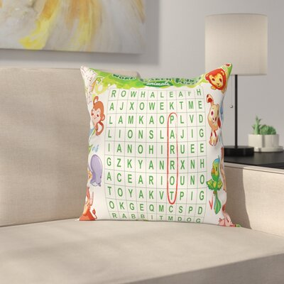 Puzzle Cute Animals Square Cushion Pillow Cover Size: 24 x 24