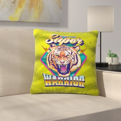 Roberlan Super Furry Tiger Warrior Outdoor Throw Pillow Size: 18 H x 18 W x 5 D
