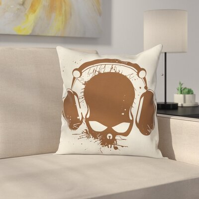 DJ Grunge Retro Skull Cushion Pillow Cover Size: 18 x 18