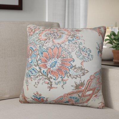 Shilpa Floral Linen Throw Pillow Color: Coral