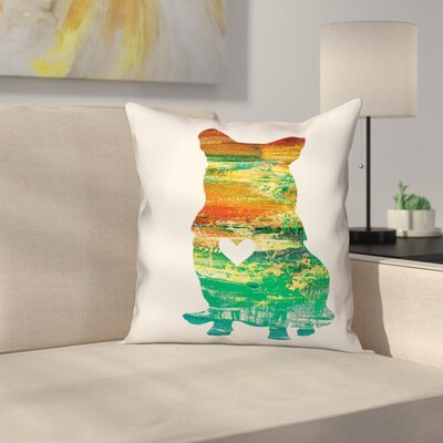 Nunlist Silhouette Corgi Throw Pillow in , Cover Only Color: Green/Orange/Yellow, Size: 20 x 20