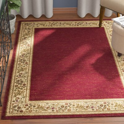 Arbus Dark Red/Wheat Area Rug Rug Size: Rectangle 53 x 73
