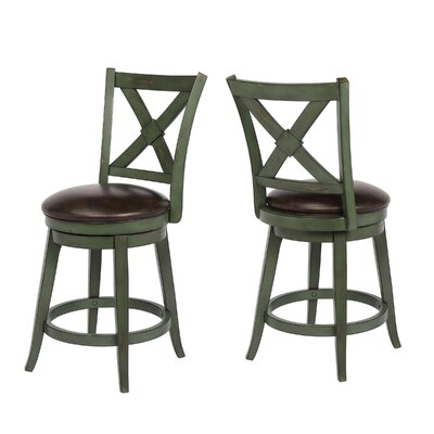 Hassell 24 Swivel Bar Stool Frame Color: Green