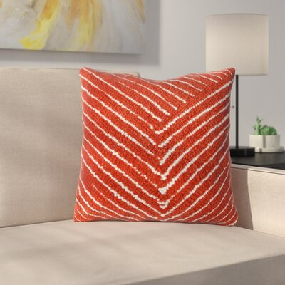 Ponton Diagonal Stripe Throw Pillow Color: Red Orange