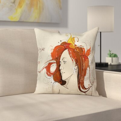 Modern Muse Woman Grungy Mystic Square Pillow Cover Size: 18 x 18