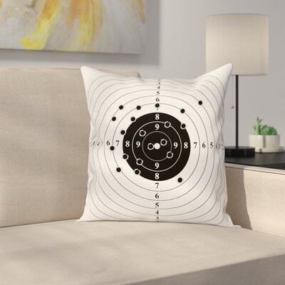 Target Bullet Holes Square Pillow Cover Size: 16 x 16
