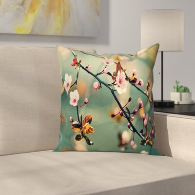 Japanese Cherry Sakuras Cushion Pillow Cover Size: 18 x 18