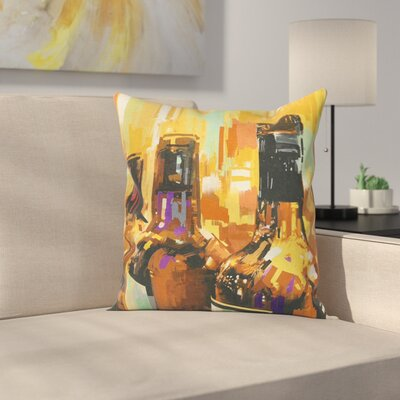 Wine Bottles Brushstrokes Art Square Pillow Cover Size: 16 x 16