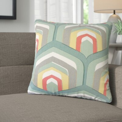 Taliyah Geometric Cotton Throw Pillow Color: Dew