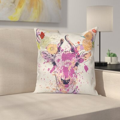 Artistic Deer Portrait Square Cushion Pillow Cover Size: 18 x 18