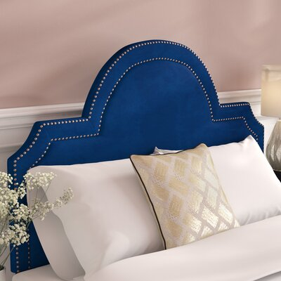 Heverlee Upholstered Panel Headbaord Size: 58.7 H x 61.8 W x 2.4 D, Upholstery: Navy
