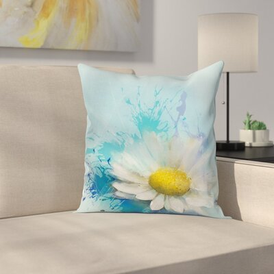 Floral Painting Effect Daisy Square Pillow Cover Size: 18 x 18