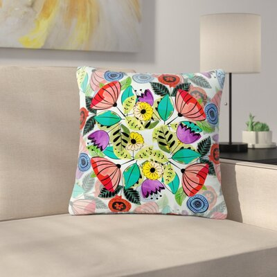 Famenxt Fresh Spring Flowers Floral Outdoor Throw Pillow Size: 18 H x 18 W x 5 D