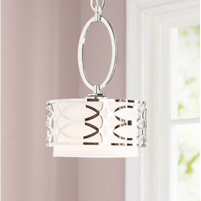 Helina 1-Light LED Drum Pendant Finish / Shade Finish: Polished Nickel / Slate Gray Fabric