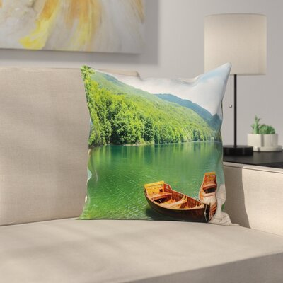 Boats Lake Forest Serene Cushion Pillow Cover Size: 24