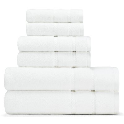 Belle Haven 6 Piece Towel Set Color: White