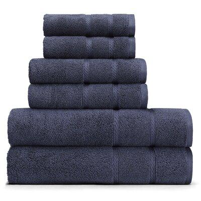 Belle Haven 6 Piece Towel Set Color: Blue