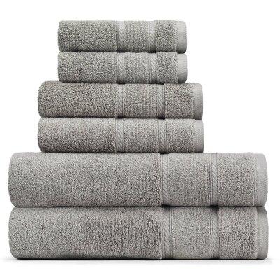 Belle Haven 6 Piece Towel Set Color: Gray