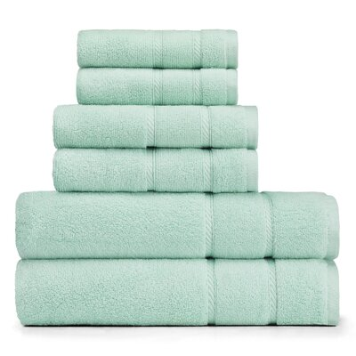 Belle Haven 6 Piece Towel Set Color: Jade