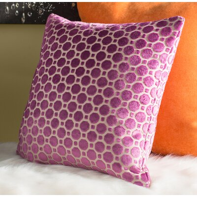 Carlie Velvet Throw Pillow Color: Magenta, Size: 18 H x 18 W
