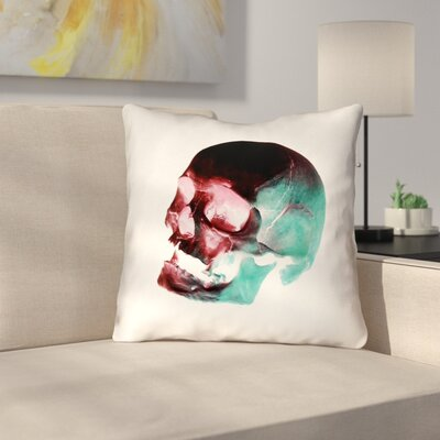 Waterproof Skull Throw Pillow Color: Red/Blue/Black/White, Size: 16 x 16