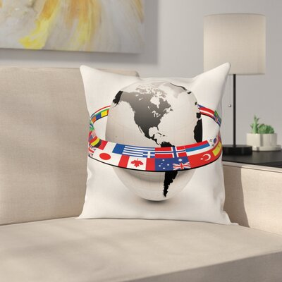 Orbit of National Flags Square Pillow Cover Size: 24 x 24