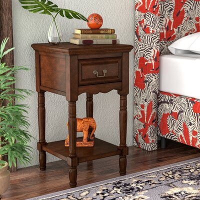 Muhammad 1 Drawer Nightstand Color: Dark Brown