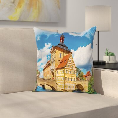 Travel Decor City Hall Germany Square Pillow Cover Size: 16 x 16